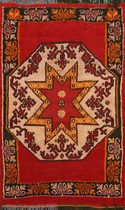 Vintage Geometric Moroccan Oriental Area Rug Hand-Knotted Wool 4x5 Red Carpet