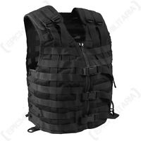 Army Black TACTICAL MOLLE CARRIER ASSAULT VEST Airsoft Combat Attachment Rig Top