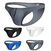 Men's Seamless Underwear Mesh Bulge Pouch Bikini Thong Underwear Briefs Panties