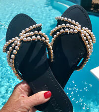 "NEW MYSTIQUE 7 ""Pittsburgh"" Pearl Slides Leather Sandals Retail $200 NIB Black"