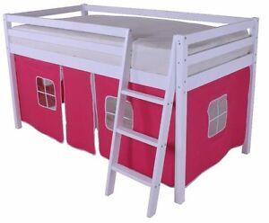 Mid sleeper Cabin bed Loft Bunk Kids Children's Bed White Wooden Pink Tent