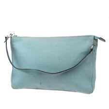 Authentic HERMES Logo Mini Pouch Hand Bag Cotton Leather Blue France 02MC194