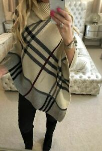 Ladies warm High neck Tartan Poncho women Knitted Wrap Cape Shawl Plus size 8-24