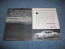 """1963 Chrysler 300-J Vintage 2pg Anuncio """"Coming-Out Fiesta En Doce Mil Pies """""""