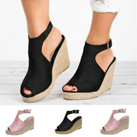 Fashion Women's Ladies Solid Wedges Casual Buckle Strap Roman Shoes Sandals Size