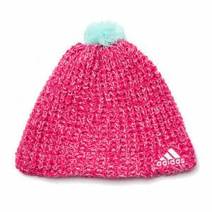 Adidas Accessories Climaheat Womens Girls Wool Crochet Beanie Pink M66840 A184A