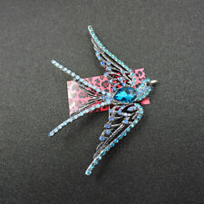 Hot Charm Blue Crystal Cute Swallow Betsey Johnson Woman's Brooch Pin Gift