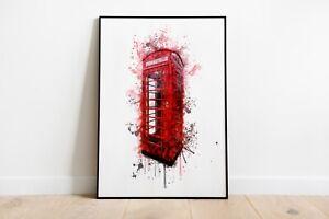 Watercolour Splash Red Phone Box Print A4 A3 A2 Maxi Wall Art Decor London 5070