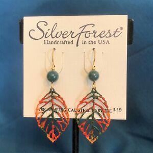 Silver Forest Earrings - Leaf - 18k Bonded Earwire - NEW w tags