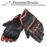 Guanti pelle corti moto Dainese Carbon D1 short nero rosso black leather gloves