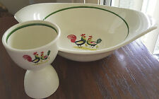 Steubenville Roosters Horizon Family Affair Serving Bowl Demitasse Egg Cup