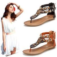 New Women Retro Bohemia Beads Slipper Flip Flops Flat Sandals Buckle Thong Shoes