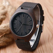 Luxury Men's Black Natural Wooden Quartz Wrist Watch Genuine Leather Band Gift