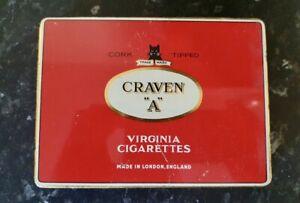 "VINTAGE - CORK TIPPED CRAVEN ""A"" VIRGINIA CIGARETTES - EMPTY TIN"