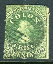 Chile 1862 First Issues London Print 20¢ Green VFU U721