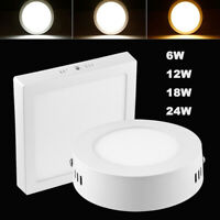 Surface Mounted LED Panel Light Ceiling Downlight 6W 12W 18W 24W Lamp AC 85-265V