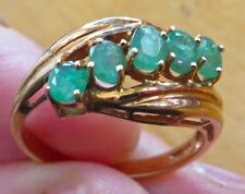 10K Yellow Gold Ring with 5 Emeralds - Size 7
