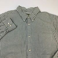 Sonoma Oxford Button Up Shirt Men's Size 2XL XXL Long Sleeve Green White Striped
