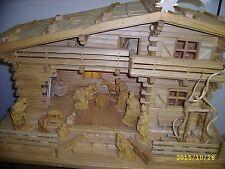 Voralpenländische Krippe - Handarbeit - Fichte natur - 80x40x45 cm - Beleuchtet