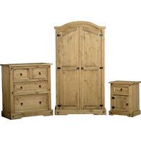Corona Pine Bedroom Furniture Set - Solid Wood - Wardrobe, Chest & Bedside