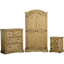 Corona Pine Bedroom Furniture Set - Solid Wood - Wardrobe, Chest & Bedside