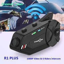 1km Motorcycle BT 5.0 Wireless Helmet Headset Interphone HD 1080p WiFi Recorder