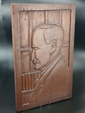 More details for carved mahogany wood gentleman in library portrait wall panel