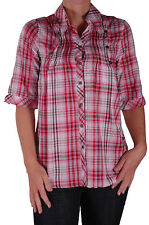 Womens Checkered Casual Fashion 3/4 Long Sleeve Formal Blouse Shirt Tops
