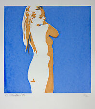 Nude Girl Screen print hand made original design woman lady female decorative