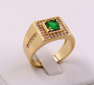 New Jewelry Natural 2.02ct Emerald 14k Solid Yellow Gold Ring Size 11.5#