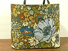 New ListingVintage 1960's Brown and Blue Floral Knitting Craft Tote Bag Mid Century Mcm