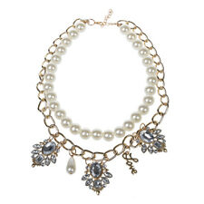 Fashion Jewelry Pendant Crystal Chunky Pearl Bib Chain Statement Necklace P N8O8
