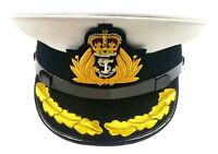 ROYAL NAVY OFFICER HAT, NAVAL CAPTAIN PEAK CAP, R N COMMANDERS CAP BULLION BADGE