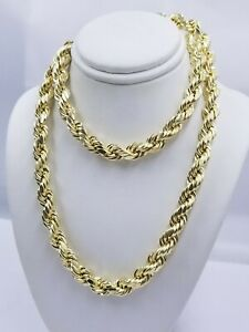 """SOLID Gold 10k Rope Chain 8mm 18""""-30"""" Inch 10kt Yellow Gold Necklace Diamond Cut"""