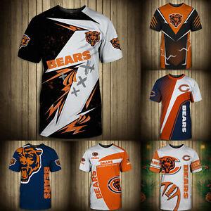Chicago Bears Summer Men's T-shirt Casual Short Sleeve Tee Top Shirts Gift S-5XL