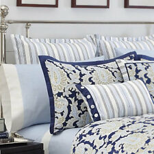 Nautica PALMETTO BAY ~ EURO European PILLOW SHAM ~ Navy-Light Blue-White Stripe
