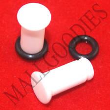 1304 White Acrylic Single Flare 4 Gauge 4G Plugs 5mm MallGoodies 1 Pair
