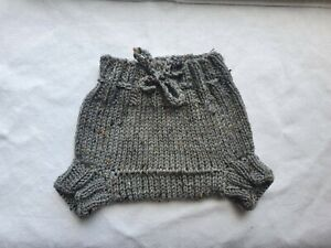 new lanolised aran wool nappy cover soaker grey mix unisex approx 0-12 months