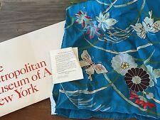 VTG MoMA Museum of Modern Art JAPANESE CHRYSANTHEMUM  TEAL BLUE OBLONG SCARF