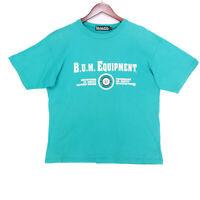 BUM Equipment Men's Green Vintage Single Stitch Spellout T-Shirt - Size Large
