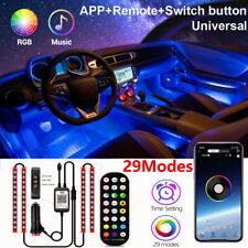 4X Auto PKW LED Ambientebeleuchtung Innenraumbeleuchtung Lichtleiste App Control