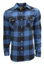 Plaid Flannel Shirt for Men, Long Sleeve Western Style with Pearl Snaps