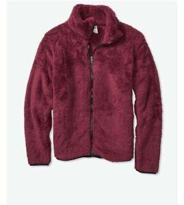 Victoria's Secret PINK Merlot Plush Sherpa Full Zip Jacket Sweater L Large NEW