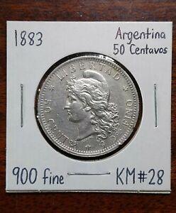 1883 Argentina 50 Centavos, 900 Silver