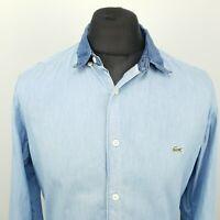 Lacoste Mens LIVE Shirt 41 LARGE Long Sleeve Blue Slim Fit No pattern Cotton
