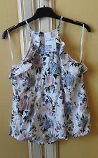Top sottogiacca smanicato bianco fiori maglia canotta donna H&M 36 eu viscosa