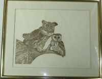 Vintage Etching on Embossed Paper Brace of Owls by Roslyn Rose Listed