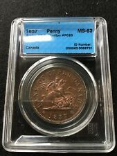 **1857**Can.Token**PC-6D, Breton #719, CCCS Graded**MS-63**One Penny Token