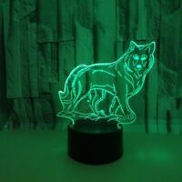 Energe saving 3D LED Wolf Desk Lamp Night Light 7 Color Change Touch Room Decor