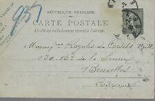 ENTIER  POSTAL  CARTE POSTALE   TYPE SEMEUSE 1921 TISSAGE MECANIQUE